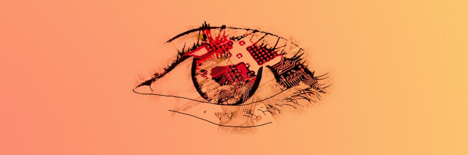 Eye with circuit board as example for sensors as sense organ